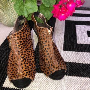 Moda Spana Calf Hair Leopard Zip Heels 8.5